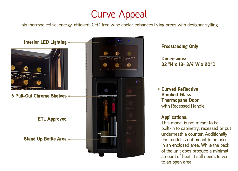 Curve Appeal: This thermoelectric, energy-efficient, CFC-free wine cooler enhances living areas with designer styling.