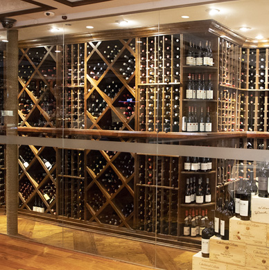 The Glass Enclosed Wine Cellars of Benjamin Steakhouse, Westchester County and New York City