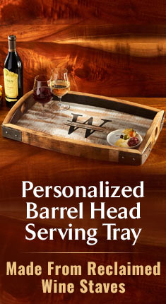 Personalized Barrel Head Serving Tray - Made From Reclaimed Wine Staves
